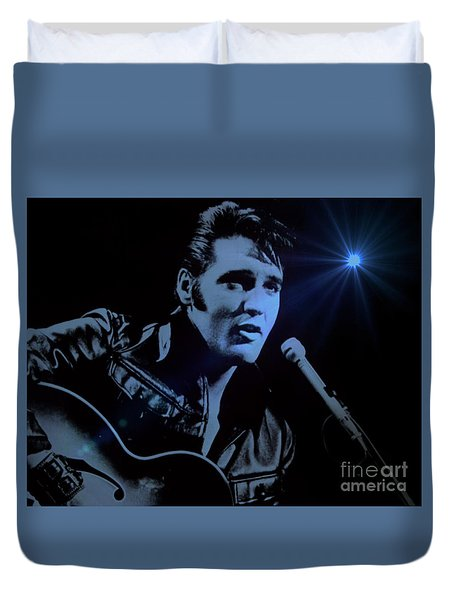The King Rocks On Duvet Cover by Al Bourassa