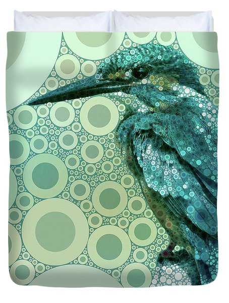 Duvet Cover featuring the mixed media The Kingfisher by Susan Maxwell Schmidt