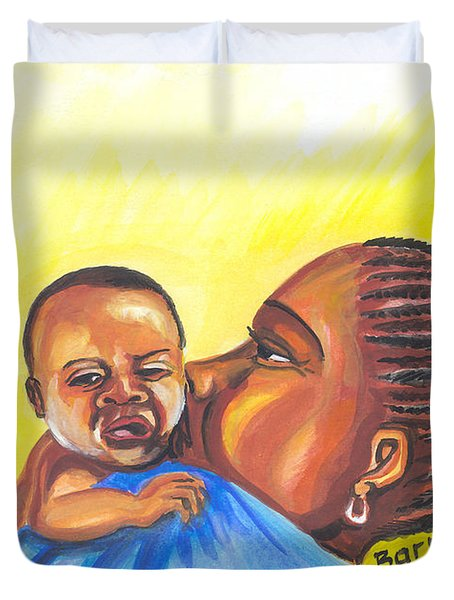 The Kiss Of A Mother In Senegal Duvet Cover by Emmanuel Baliyanga