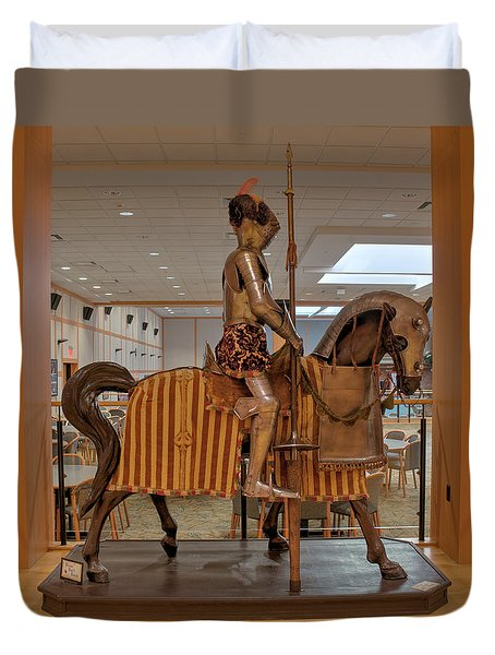 Duvet Cover featuring the photograph The Knight On Horseback by Mark Dodd