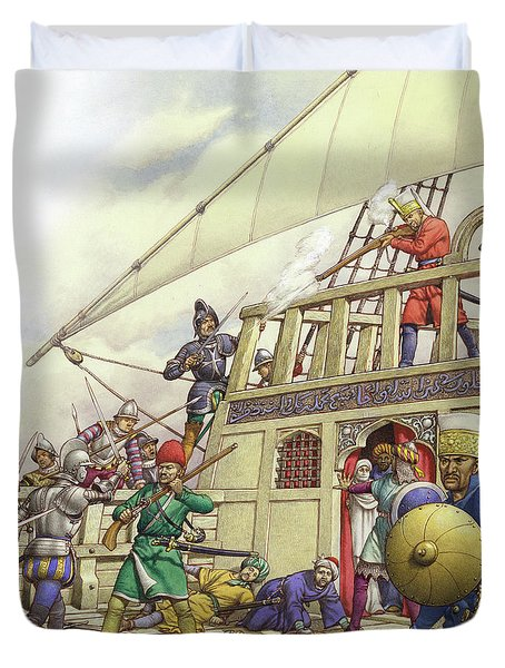 The Knights Of St John Seized Turkey's Finest Galleon, The Sultana Duvet Cover by Pat Nicolle