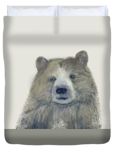 Duvet Cover featuring the painting The Kodiak Bear by Bri B
