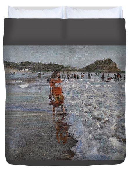 Duvet Cover featuring the painting The Konkan Beach by Vikram Singh