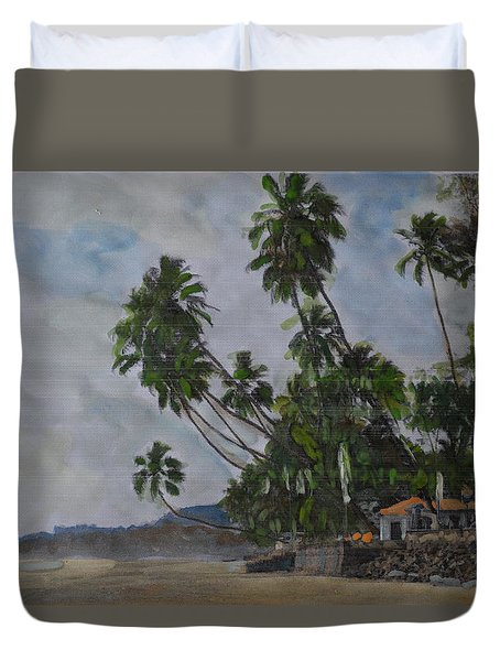 Duvet Cover featuring the painting The Konkan Coastline by Vikram Singh