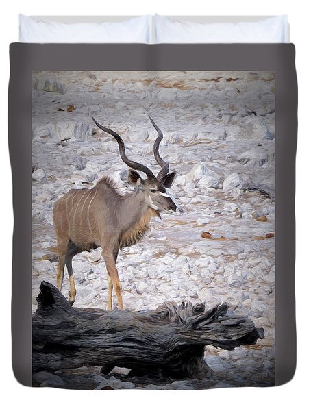 Duvet Cover featuring the digital art The Kudu In Namibia by Ernie Echols