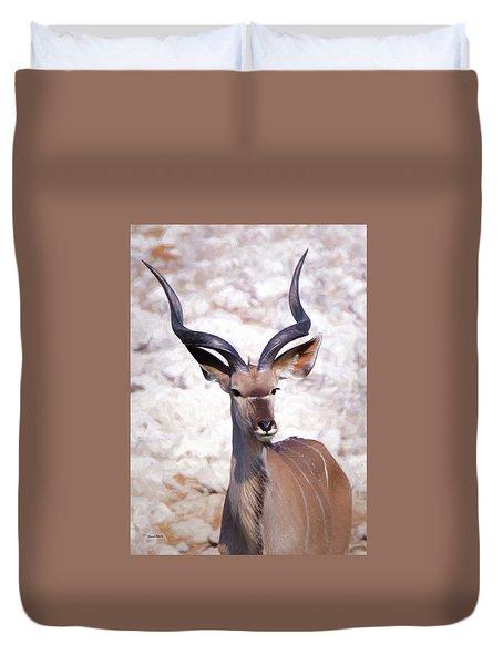 The Kudu Portrait 2 Duvet Cover by Ernie Echols