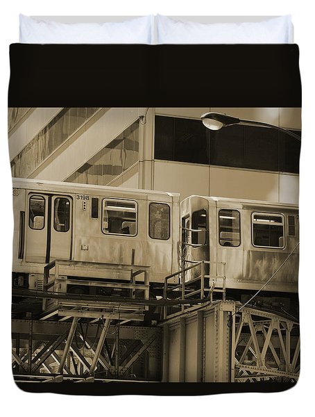 The L Downtown Chicago In Sepia Duvet Cover