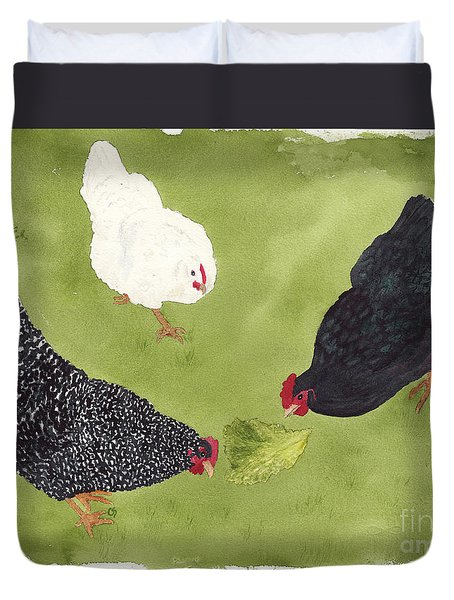 The Ladies Love Salad Three Hens With Lettuce Duvet Cover