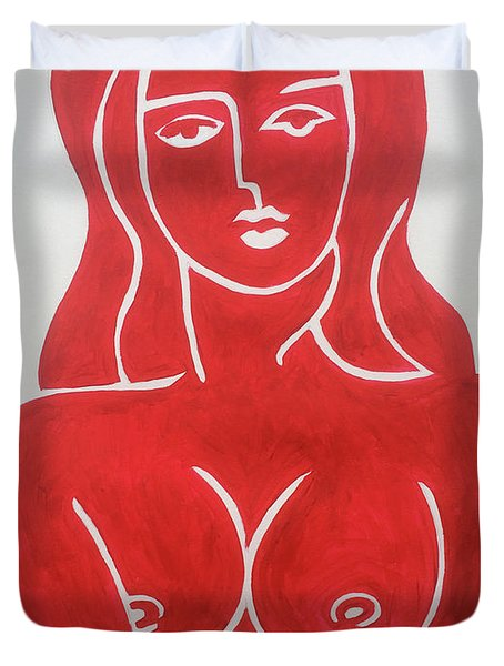 The Lady In Red Erotic Nude Female Woman  Duvet Cover