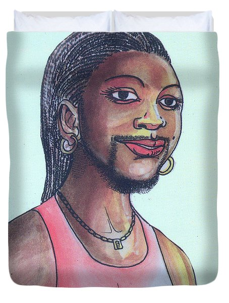 The Lady With A Beard Duvet Cover by Emmanuel Baliyanga