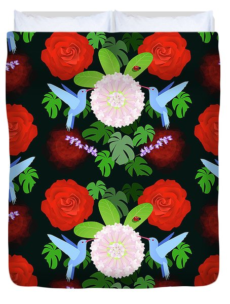 The Ladybird And The Hummingbird Duvet Cover