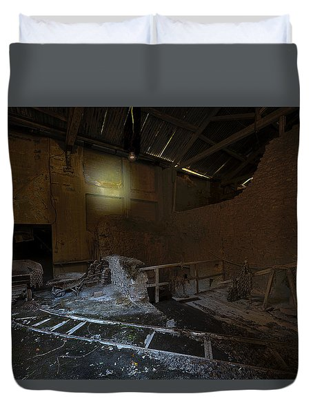 Duvet Cover featuring the photograph The Lamp Of The Abandoned Furnace Quarry  by Enrico Pelos