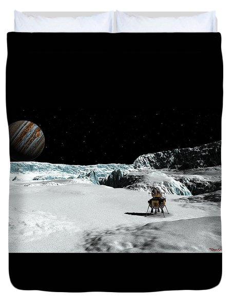 Duvet Cover featuring the digital art The Lander Ulysses On Europa by David Robinson