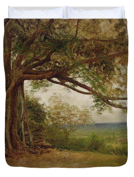 The Landing Of Columbus Duvet Cover by Albert Bierstadt