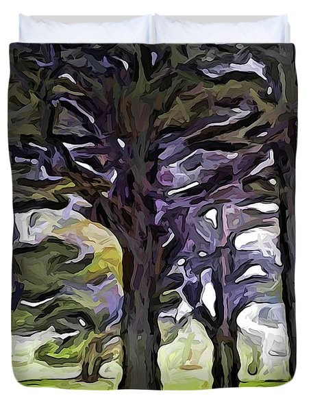 The Landscape With The Trees In A Row Duvet Cover