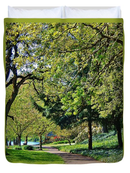 The Lane At Waverly Pond Duvet Cover by VLee Watson