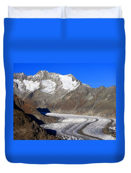 The Large Aletsch Glacier In Switzerland Duvet Cover