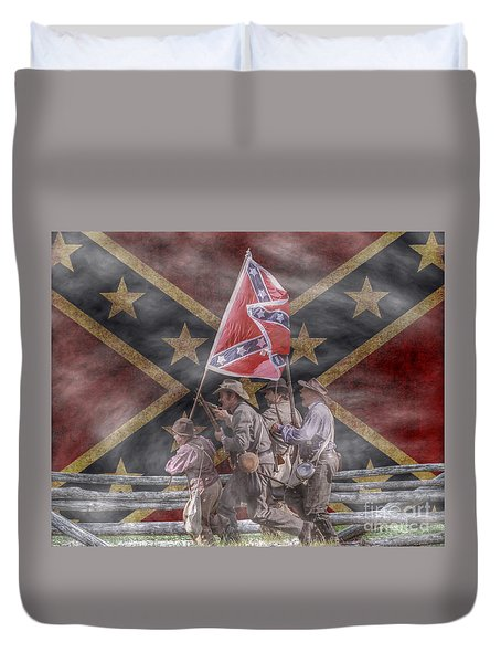 The Last Charge Confederate Flag Version Duvet Cover