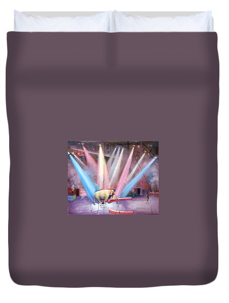 Duvet Cover featuring the painting The Last Circus Elephant by Oz Freedgood