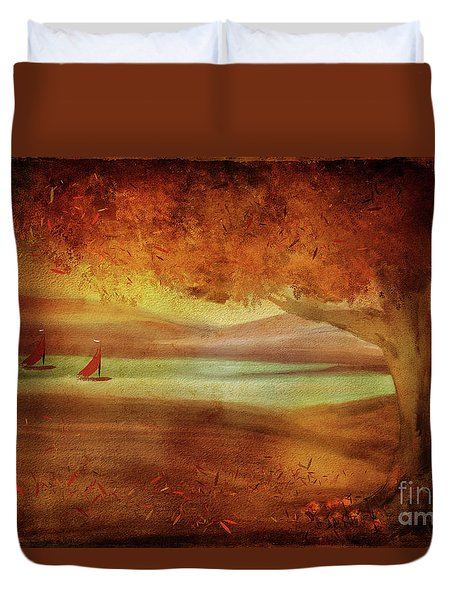 Duvet Cover featuring the digital art The Last Sail Of The Season  by Lois Bryan