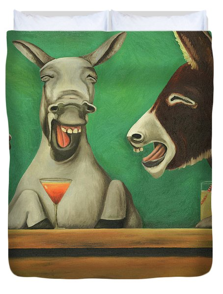 Duvet Cover featuring the painting The Laughing Donkeys by Leah Saulnier The Painting Maniac