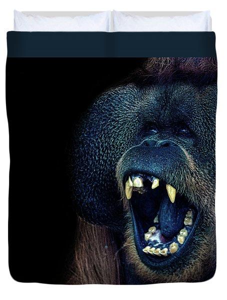 The Laughing Orangutan Duvet Cover by Martin Newman