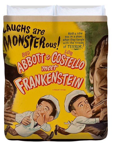 The Laughs Are Monsterous Abott An Costello Meet Frankenstein Classic Movie Poster Duvet Cover