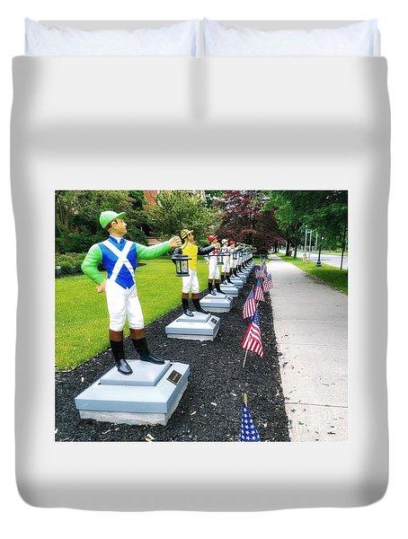 The Lawn Jockeys Of Saratoga Springs Duvet Cover