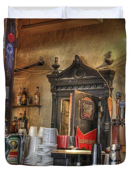 The Lazy Gecko Bar Key West Duvet Cover by Scott Bert