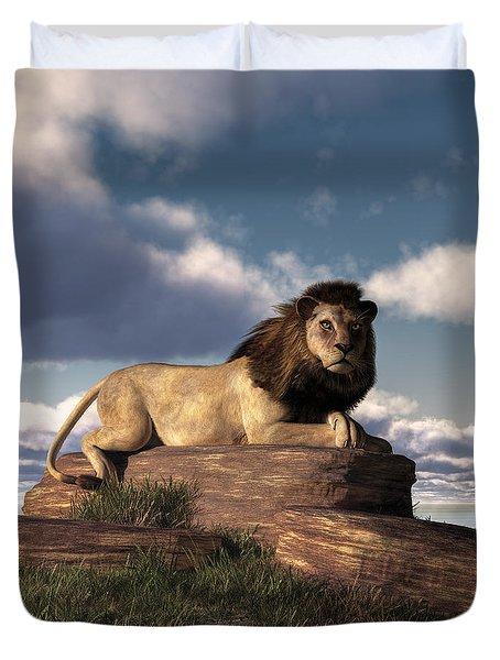 The Lazy Lion Duvet Cover by Daniel Eskridge