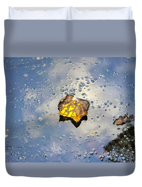 The Leaf And Liquid Sky Duvet Cover