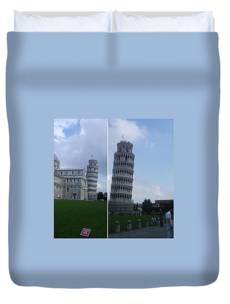 The Leaning Tower Of Pisa Duvet Cover by Patsy Jawo