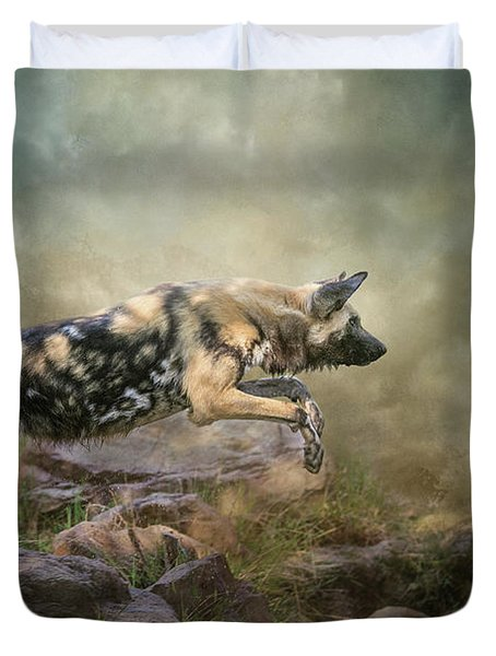 Duvet Cover featuring the digital art The Leap by Nicole Wilde