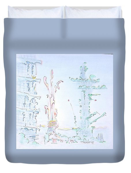 The Legend Of The Fossil Fuel Presidential Tower Duvet Cover