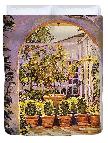 The Lemon Tree Courtyard Duvet Cover