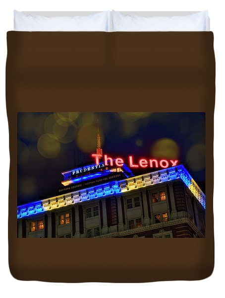Duvet Cover featuring the photograph The Lenox And The Pru - Boston Marathon Colors by Joann Vitali