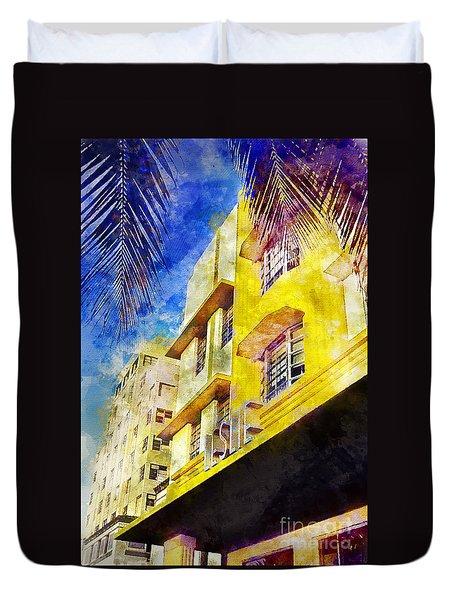 The Leslie Hotel South Beach Duvet Cover by Jon Neidert