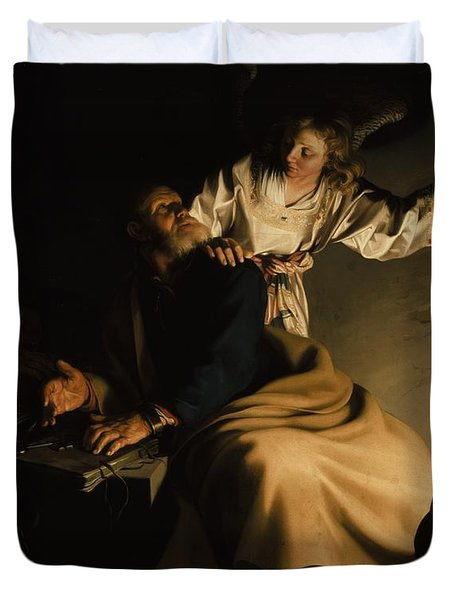 The Liberation Of Saint Peter Duvet Cover by Abraham Bloemaert