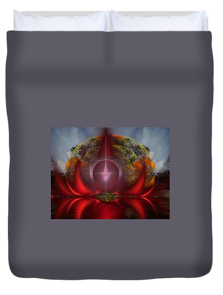 Duvet Cover featuring the digital art The Light Beyond Deaths Door by Mario Carini