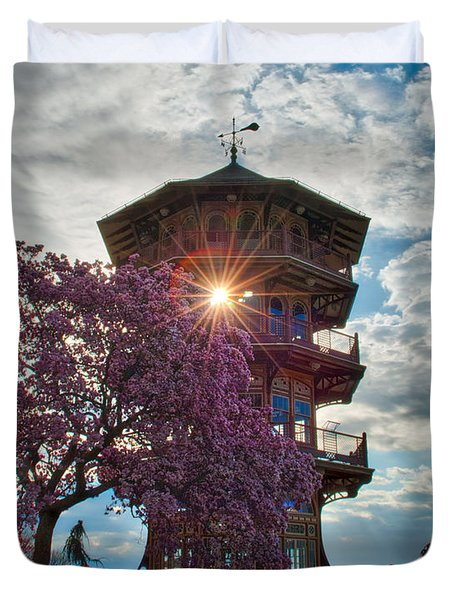 Duvet Cover featuring the photograph The Light Through The Pagoda by Mark Dodd