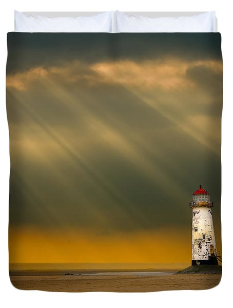 The Lighthouse As The Storm Breaks Duvet Cover