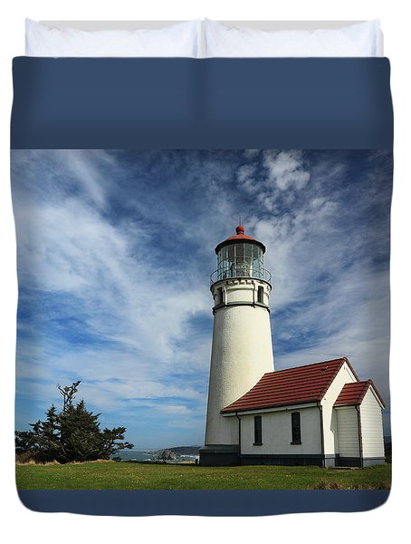 The Lighthouse At Cape Blanco Duvet Cover by James Eddy