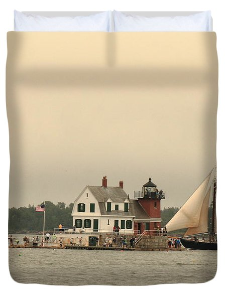 The Lighthouse At Rockland Duvet Cover