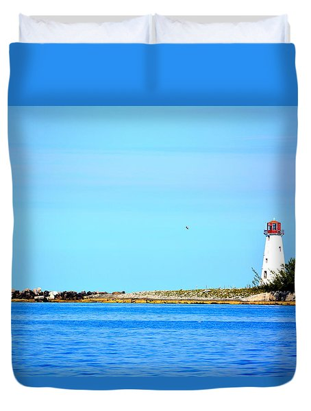 The Lighthouse At Sea Duvet Cover