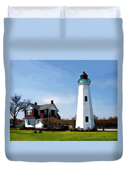 Duvet Cover featuring the painting The Lighthouse by Jann Paxton