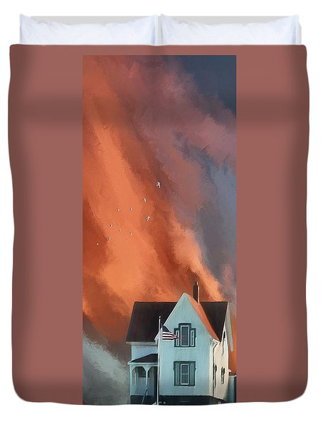 Duvet Cover featuring the digital art The Lighthouse Keeper's House by Lois Bryan