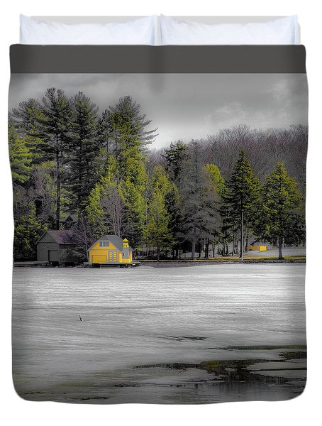 Duvet Cover featuring the photograph The Lighthouse On Frozen Pond by David Patterson