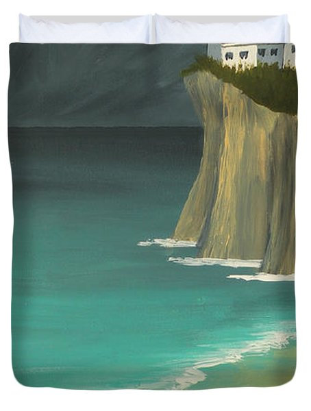 The Lighthouse On The Cliff Duvet Cover