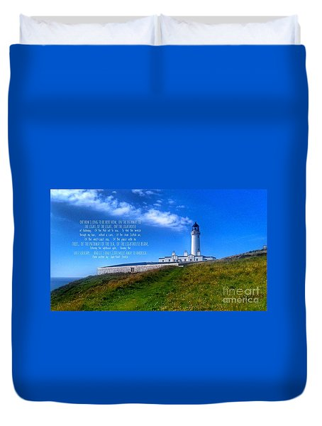 The Lighthouse On The Mull With Poem Duvet Cover