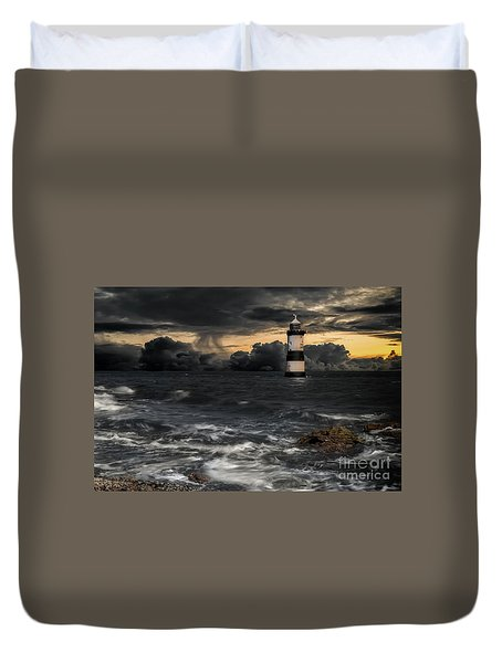 The Lighthouse Storm Duvet Cover